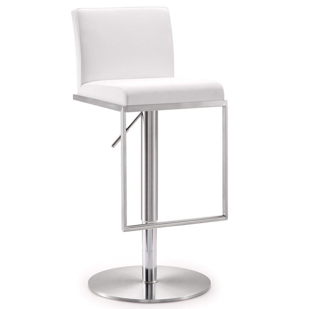 Amalfi White Stainless Steel Adjustable Barstool