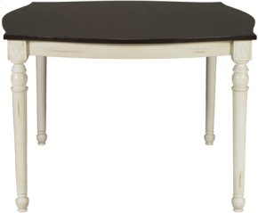Square High Dining Table Eggshell & Walnut