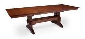 """Franklin Trestle Table with Butterfly Leaf, Franklin Trestle Table, 48""""x80"""", 1-18"""" Stationary Butterfly Leaf on Each End"""