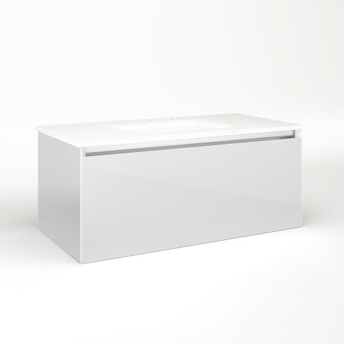 "Cartesian 36-1/8"" X 15"" X 18-3/4"" Single Drawer Vanity In Satin White With Slow-close Plumbing Drawer and Night Light In 5000k Temperature (cool Light)"