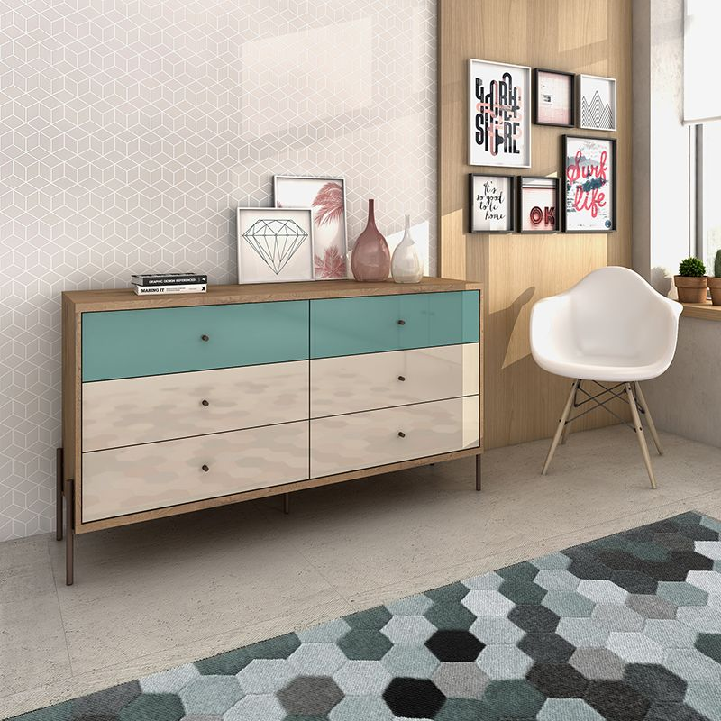 """Joy 59"""" Wide Double Dresser with 6 Full Extension Drawers in Blue and Off White"""