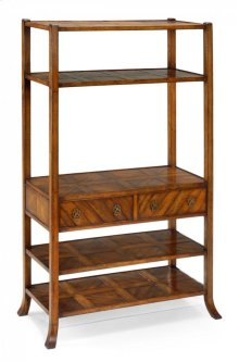 Walnut parquet shelf