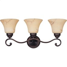 3-Light Wall Mounted Vanity Light in Copper Espresso Finish with Honey Marble Glass Shades