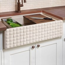 Workstation Basketweave Farmhouse Sink
