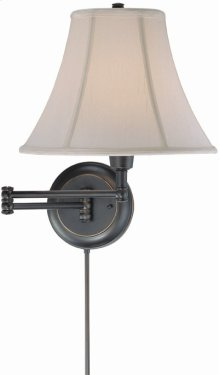 Swing Arm Wall Lamp - D/brz/empire Fabric Shd, Cfl 25w/3-way
