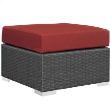 Sojourn Outdoor Patio Sunbrella® Ottoman in Canvas Red