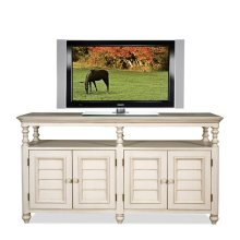 Placid Cove Louver TV Console Honeysuckle White finish