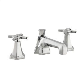 Waldorf Crosshead Low Spout Widespread Lavatory Faucet - Polished Nickel
