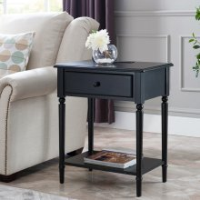 Swan Black Coastal Nightstand/Side Table with AC/USB Charger #20022-BK