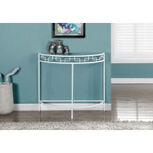 "ACCENT TABLE - 36""L / WHITE METAL HALL CONSOLE"