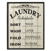 """Framed """"Laundry Schedule"""" Wall Decor"""