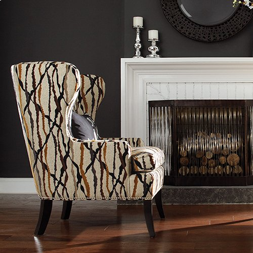 Moscato Premier Stationary Occasional Chair w/ Brass Nail Head Trim