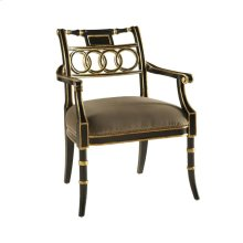 BLACK LACQUER ARMCHAIR WITH GOLD GILDED ACCENTS