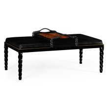 Cocktail Ottoman with Tray Table and Black Barleytwist Legs, Upholstered in Black Leather