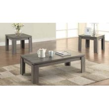 Occasional Table Sets Contemporary Distressed Grey Three-piece Set