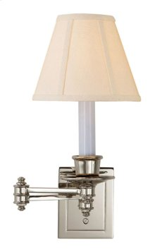 Visual Comfort S2007PN-L Studio 12 inch 40 watt Polished Nickel Swing-Arm Wall Light in Linen