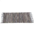 Blue & Beige Leather Chindi 2'x3' Rug (Each One Will Vary) Product Image