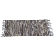 Blue & Beige Leather Chindi 2'x3' Rug (Each One Will Vary)
