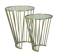 """S/2 Gold """"c"""" Accent Tables, Glass Top"""