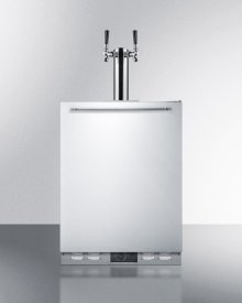 Outdoor Frost-free Beer Dispenser for Built-in Use, With Dual Tap System for Two 1/6 Kegs