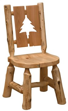 Cut-out Side Chair Pine Tree, Wood Seat