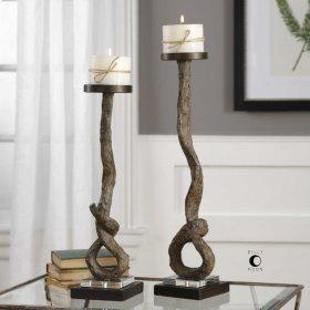 Driftwood, Candleholders, S/2