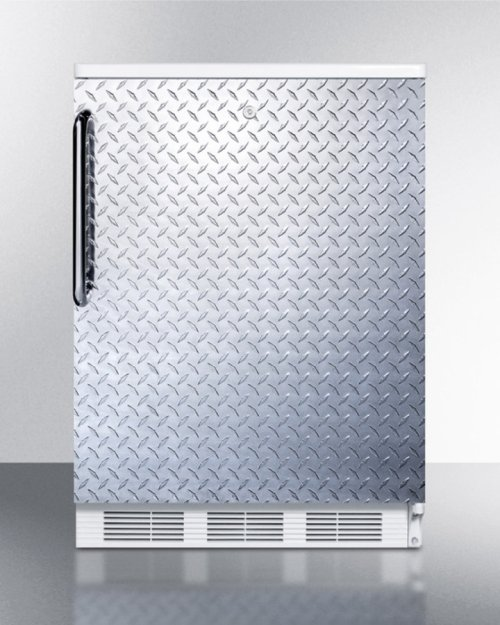 Freestanding Refrigerator-freezer for General Purpose Use, With Dual Evaporator Cooling, Cycle Defrost, Diamond Plate Door, Tb Handle, Lock, and White Cabinet