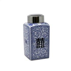 "Square White/blue/silver Jar 1, 2"""