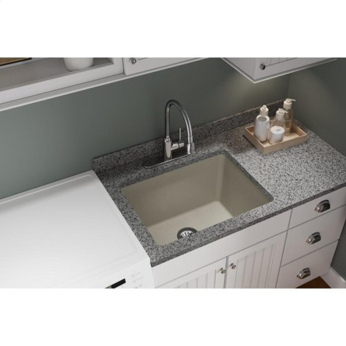 "Elkay Quartz Classic 25"" x 18-1/2"" x 11-13/16"", Undermount Laundry Sink with Perfect Drain, Putty"