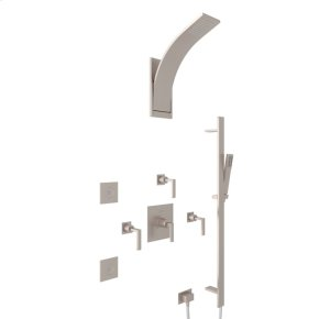 Satin Nickel WAVE WAVEKIT390L THERMOSTATIC SHOWER PACKAGE with Metal Lever