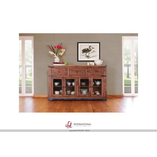 "70"" Console 3 drawer, 4 Glass Doors"