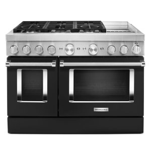 KitchenAidKitchenAid® 48'' Smart Commercial-Style Dual Fuel Range with Griddle - Imperial Black