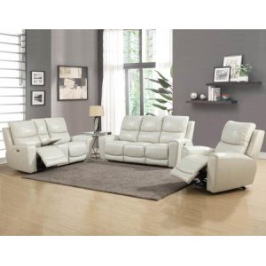 Steve Silver Co.Laurel Ivory 3-Piece Dual-Power Leather Motion Set (Sofa, Loveseat & Chair)