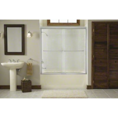 """Finesse™ Sliding Bath Door with Quick Install™ Mounting System - Height 58-3/4"""", Max. Opening 59-1/4"""" - Deep Bronze"""
