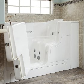 Gelcoat Premium Series 30x52 Inch Walk-in Tub with Whirlpool System and Outward Opening Door, Left Drain  American Standard - Linen