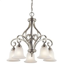 Monroe 5 Light Chandelier with LED Bulbs Brushed Nickel
