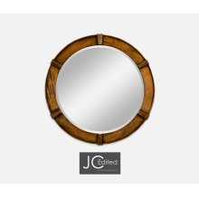 Country Walnut Round Mirror