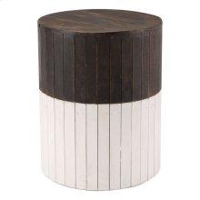 Wooden Round Garden Seat Brn & Wht