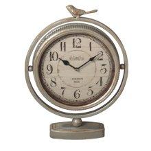 Antique Silver Bird Desk Clock.