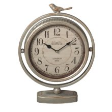 Antique Silver Bird Desk Clock.