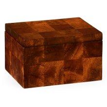 Rectangular Patchwork Mahogany Drink Coasters Box