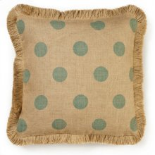 Blue Dot Burlap Pillow