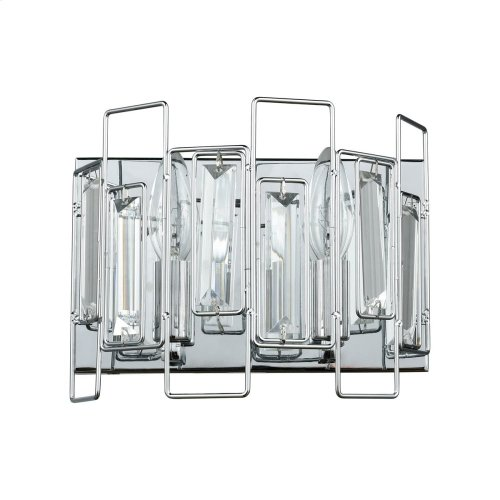 Crosby 2-Light Vanity Sconce in Polished Chrome with Clear Crystal