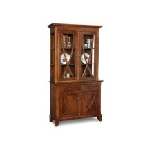Florence Buffet&Hutch w/2 Wood Doors & 2/Glass Doors & 2/Dwrs & Glass Gables&Shelves & LED Lighting