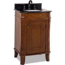"""24"""" wide MDF vanity with toffee finish and curved lattice like carvings with preassembled top and bowl."""
