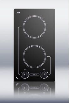 120V two burner cooktop with black ceramic glass surface