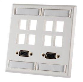 Double gang plastic faceplate, holds eight Keystone jacks or modules, Fog White