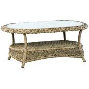 "Bainbridge Breve 44.5"" Oval Coffee Table w/Woven Top + 5mm glass top"