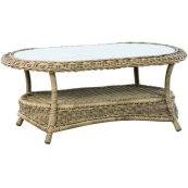 "Bainbridge Breve 44.5"" Oval Coffee Table w/Woven Top + 5mm glass top"