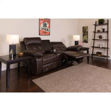 Reel Comfort Series 2-Seat Reclining Brown Leather Theater Seating Unit with Curved Cup Holders